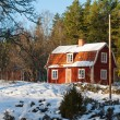 Red painted wooden house in Sweden — Stock Photo