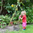 Cute little girl watering plants - Stock Photo