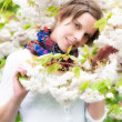 A Beautiful Woman enjoying the serenity of Spring — Stock Photo