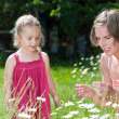 Mother and her little daughter picking flowers in a garden — Stock Photo