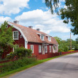 Red wooden houses along the main street of Pataholm, Sweden — Stockfoto