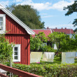 Red wooden house in the small Swedish coastal town Pataholm — Stock Photo #28012397