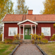 Red wooden cottage in Sweden — Stock Photo