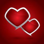Tarjeta del día de san valentín con un corazón rojo del vector — Vector de stock