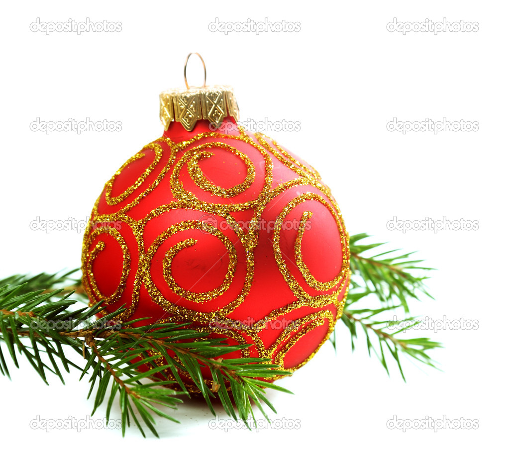 Fir branch and red christmas ornament isolated on white background — Stockfoto #16823747