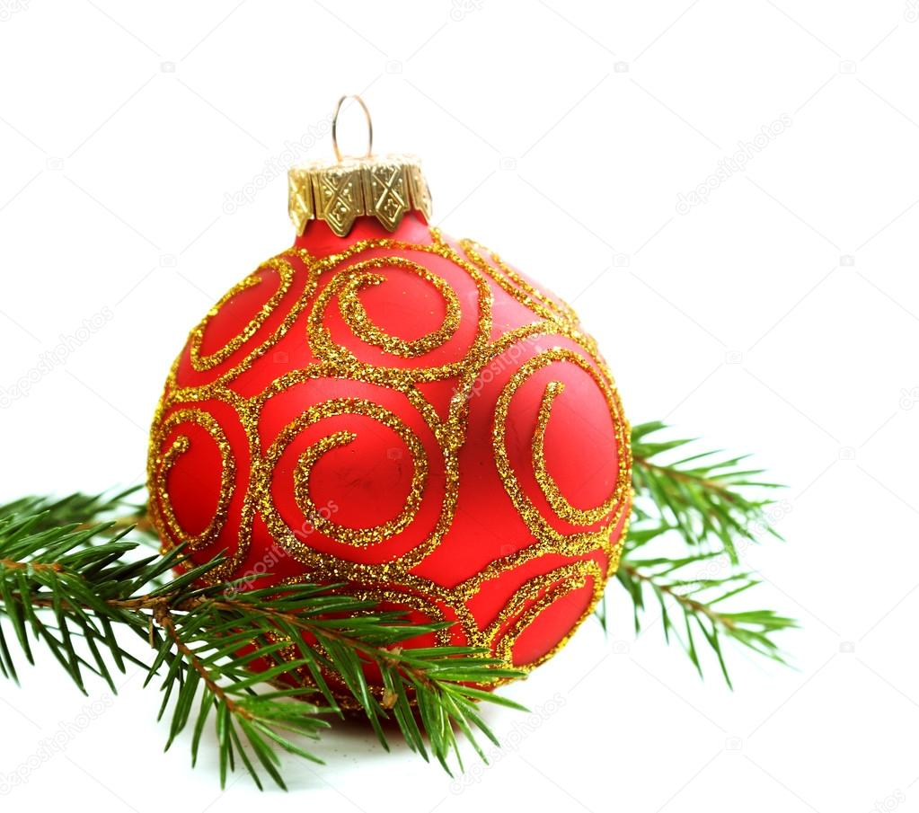 Fir branch and red christmas ornament isolated on white background — Stok fotoğraf #16823747