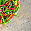Chili Peppers in bowl — Stock Photo