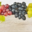 Types of grapes on wood - Stock Photo