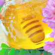 Stock Photo: Honey in glass jar