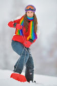 Girl on board in winter time — Stock Photo