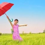 Girl with a umbrella — Stock Photo
