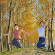 Children play in forest — Stock Photo