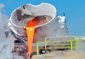 Steel buckets to transport the molten metal — Stock Photo