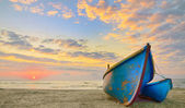 Boats at sunrise time — Stock Photo
