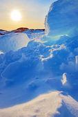 Grónsko západ slunce — Stock fotografie