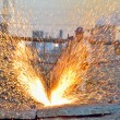 Stock Photo: Worker cut metal using blowtorch