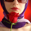 Young girlp portrait with red rose — Stock Photo #2606880