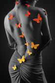Woman butterfly colour bw illustration — Stock Photo