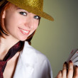 Young woman in hat with cards — Stock Photo #4846593