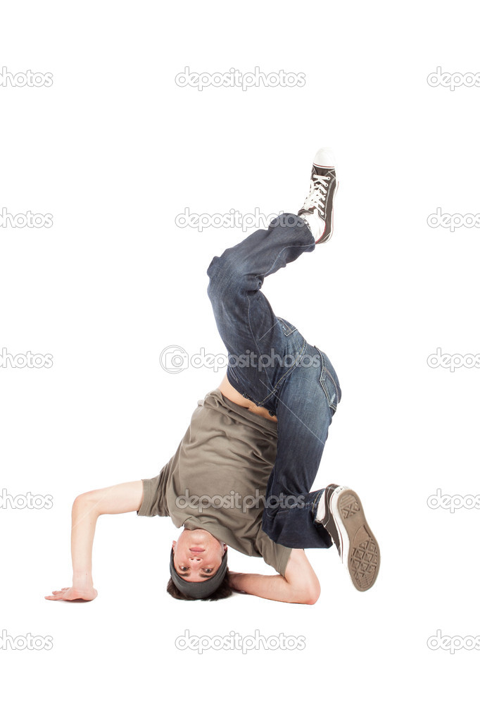 Photo of dancer performing moves on the floor on white background — Stock Photo #12498448