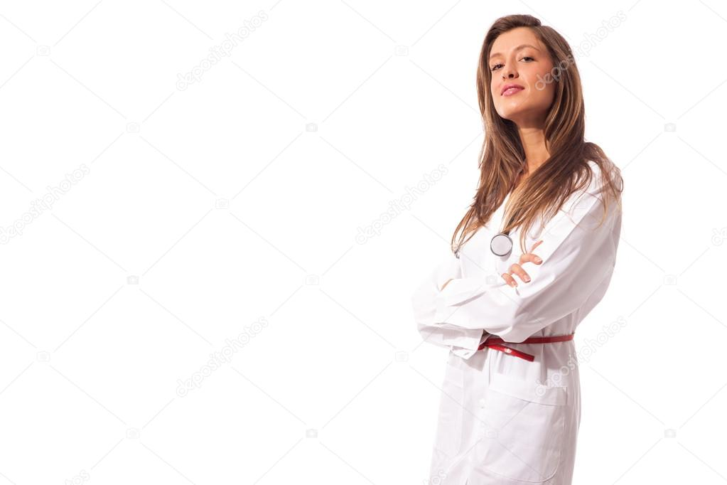 Young attractive female doctor on white isolated background — Stock Photo #14881371