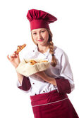 Female Chef with croissant — Stock Photo