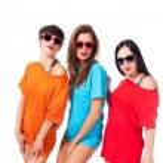 Three beautiful ladies on white background — Stock Photo
