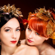 Beautiful Portrait of two womans with luxurious hair style — Stock Photo