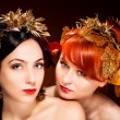 Stock Photo: Beautiful Portrait of two womans with luxurious hair style