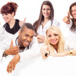 Young medical students smiling making positive thumb gesture — Foto de Stock
