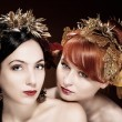 Beautiful Portrait of two womans with luxurious hair style - Stock Photo