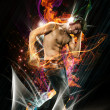 Abstract Image of Dancer with Headphones - 图库照片