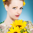 Summer Makup with sunflowers in the head — Stock Photo #26385487