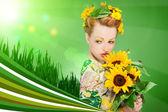 Zomer makup met zonnebloemen in het hoofd — Stockfoto