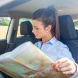 Woman is looking at a map inside her car — Stock Photo #27365795