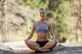 Attractive blonde woman is relaxing while sitting on the rock — Stock Photo