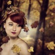 Red Hair Autumn Queen — Stock Photo