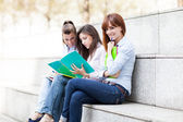 Three female students sitting on a bench with notebooks — Stock Photo