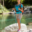 Beautiful woman with trekking outfit — Stock Photo