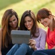 Three woman sitting on grass and looking at a digital tablet — Stock Photo