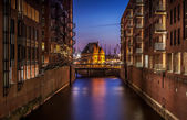 Hamburg by night — Stockfoto