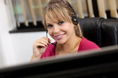 Blonde receptionist — Foto Stock