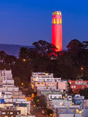 Coit Tower in Red and Gold — Stock Photo