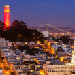 Coit Tower and St. Peter and Paul Church — Stock Photo