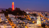 Coit Tower and St. Peter and Paul Church — Stok fotoğraf