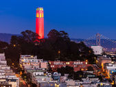 Coit Tower in Red and Gold — Stok fotoğraf