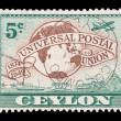 Stock Photo: Ceylon postage stamp