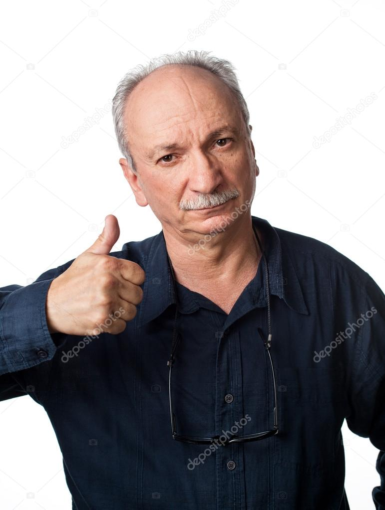 Successful man shows ok sigh on white background — Stock Photo #12602094
