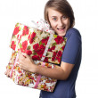 Woman holding a gift box — Stock Photo #12746156