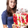 Woman holding a gift box — Stock fotografie